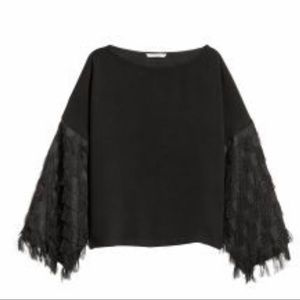 H&M Fringe Bell Sleeve Crop Top